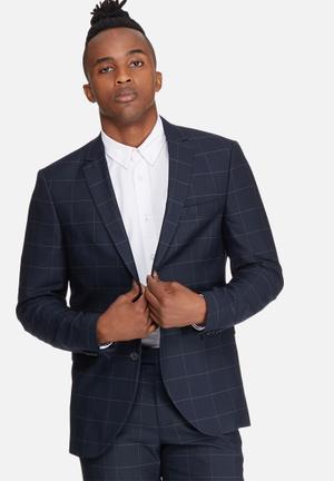Jack & Jones Premium Wind Slim Blazer Jackets & Coats Navy & Grey