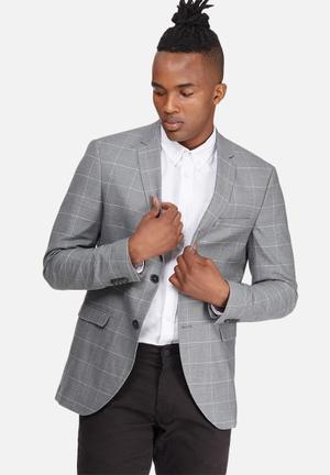 Jack & Jones Premium Dyson Slim Blazer Jackets & Coats Grey & White