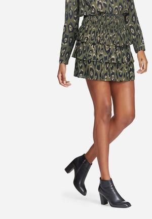 Vero Moda Rowena Smock Skirt Green, Black & Brown