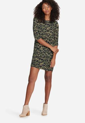 Vero Moda Rowena Dress Casual Green, Black & Beige