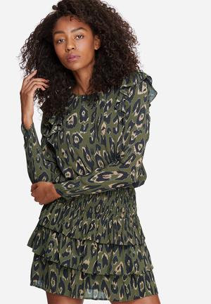 Vero Moda Rowena Frill Top Blouses Green, Black & Brown