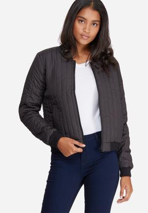 Jacqueline De Yong Hollie Quilted Bomber Jacket Black