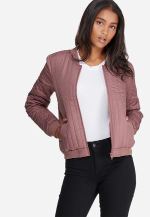 Jacqueline De Yong Hollie Quilted Bomber Jacket Dusty Pink