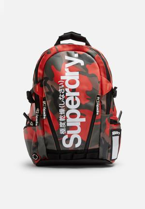 Superdry. Mega Tarp Backpack Bags & Wallets Black With Red Camo