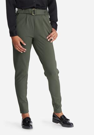 ONLY Poptrash Easy Belted Pants Trousers Olive
