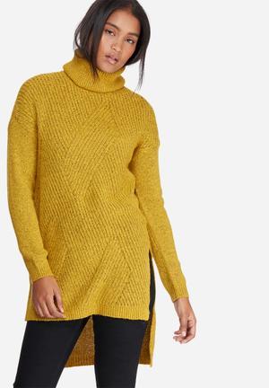 Raven posh slit roll neck knit