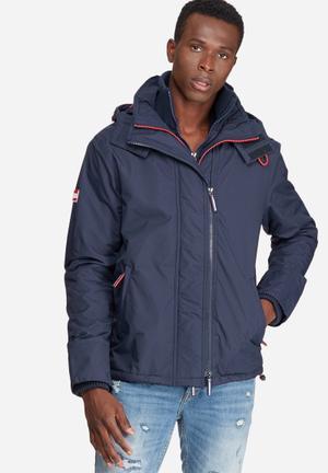 Superdry. Pop Zip Hood Arctic Wind Cheater Jacket Navy & Red