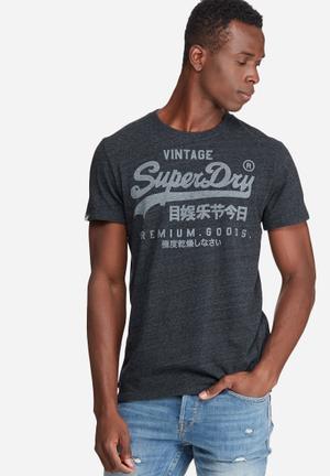 Superdry. Premium Goods Tee T-Shirts & Vests Navy Melange