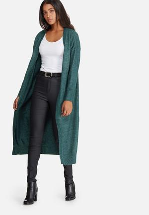 Noisy May Miles Long Cardigan Knitwear Green