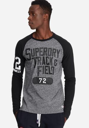 Superdry. Trackster Baseball Tee T-Shirts & Vests Black & Grey