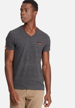 Superdry. Orange Label Vintage Embroidery Vee Tee T-Shirts & Vests Dark Grey Melange