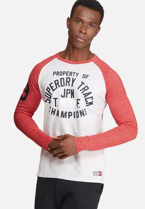 Superdry. Trackster Baseball Tee T-Shirts & Vests Red & Grey
