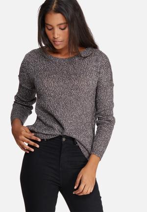 Vero Moda Jive High Low Knit Knitwear Grey