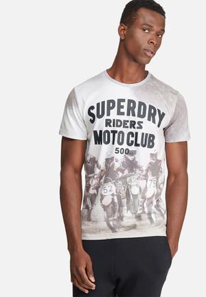 Superdry. Moto X Tee T-Shirts & Vests Grey & White
