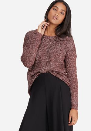 Vero Moda Jive High Low Knit Knitwear Brown, White & Black