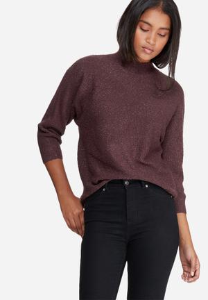 Vero Moda Tenor 3/4 Batsleeve Funnel Neck Knit Knitwear Brown