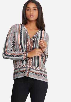 Vero Moda Edna Shirt White, Green, Black, Pink & Orange