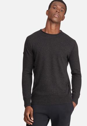 Superdry. Orange Label High Neck Crew T-Shirts & Vests Black Melange
