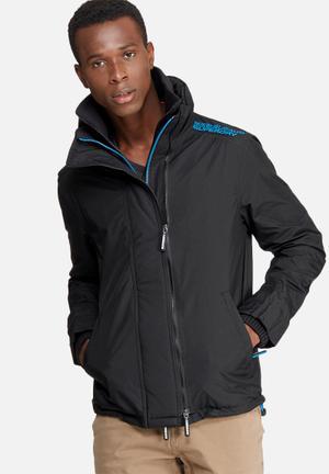 Superdry. Technical Pop Zip Wind Cheater Jacket Black & Blue