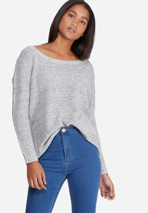 Vero Moda Tenna Off-shoulder Knit Knitwear Grey