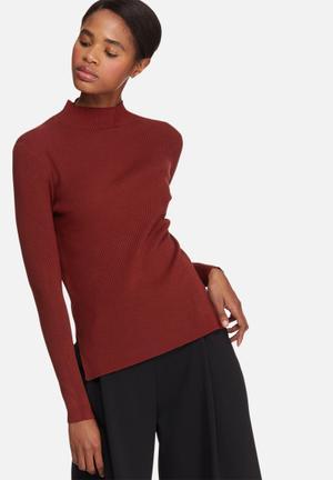 Vero Moda Glory Babette Rib Knit Knitwear Maroon