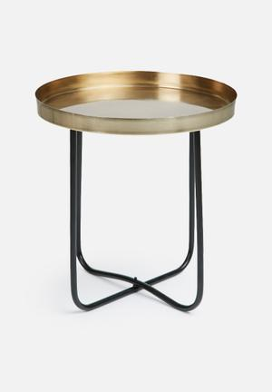 Sixth Floor Black & Gold Side Table Mild Steel