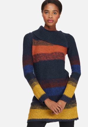 Vero Moda Raffa Trixie Split Knit Knitwear Navy, Mustard And Maroon
