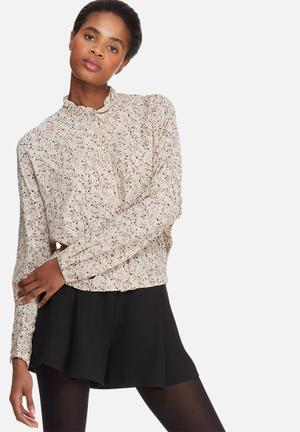 Vero Moda Harly Flower Crop Shirt Blouses Soft Beige
