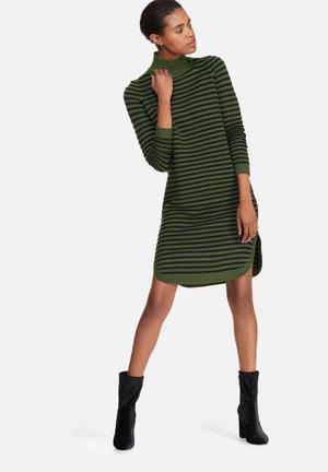 Vero Moda Trish Roll Neck Dress Casual Green & Black