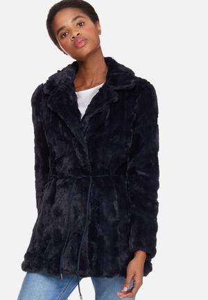 Vero Moda Ellen Faux Fur Jacket Navy