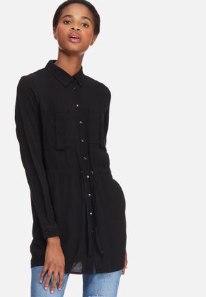 Jacqueline De Yong Cilla Tunic Top Blouses Black