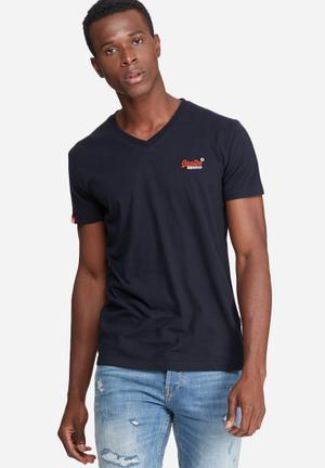 Superdry. Orange Label Vintage Embroidery Vee Tee T-Shirts & Vests Navy