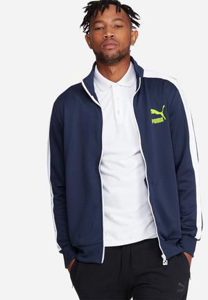PUMA Archive T7 Track Jacket Hoodies & Sweatshirts Navy, White & Neon Yellow
