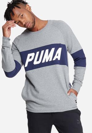 PUMA Colorblock Crew Hoodies & Sweatshirts Grey, White & Navy