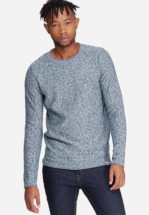 Jack & Jones Originals Good Crew Neck Knit Knitwear Blue, White & Black