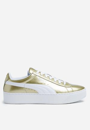 PUMA W Vikky Platform Sneakers Metallic Gold / Puma White