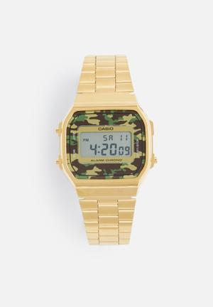 Casio Digital Wrist Watch Gold, Brown & Green