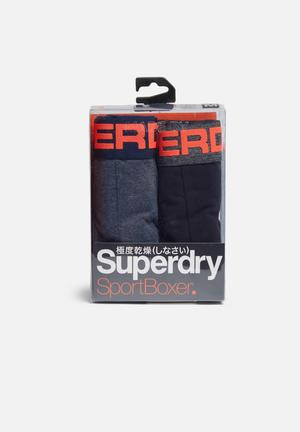 Superdry. Sport Boxer Double Pack Underwear Navy, Grey & Orange