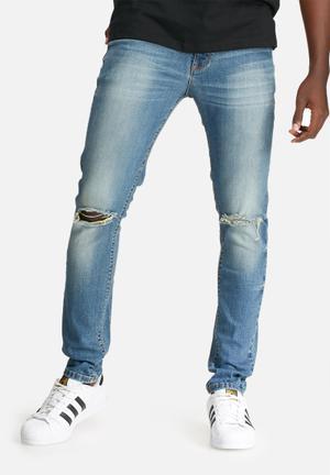 Basicthread Skinny Knee Rip Jeans Blue
