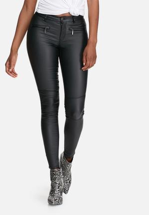 ONLY Natalie Rock Coated Biker Skinny Jeans Black