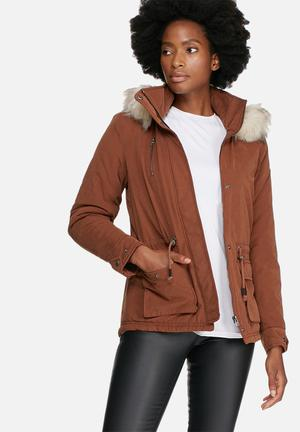 ONLY Starlight Fur Parka Jackets Brown