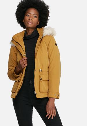 ONLY Starlight Fur Parka Jackets Mustard