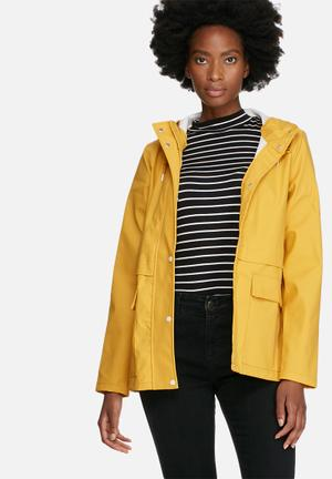 ONLY New Train Raincoat Jackets Yellow