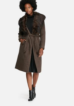 ONLY New Scoop Faux Fur Collar Coat Brown