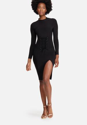 Missguided Lightweight Slinky Corset Detail Bodycon Dress Occasion Black