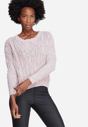 Noisy May Fab Knit Knitwear Grey, Pink & Yellow