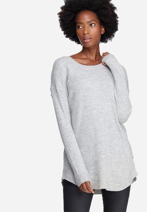 Noisy May Miles Renee Long Sweater Knitwear Grey