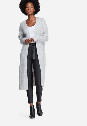 Noisy May Miles Long Cardigan Knitwear Grey
