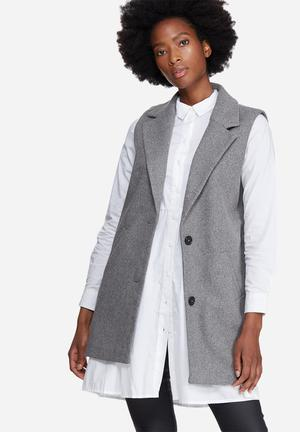 Noisy May Colour Sleeveless Jacket Grey