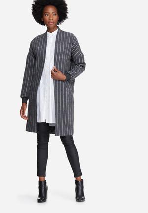 Noisy May Lash Coatigan Jackets Grey & White